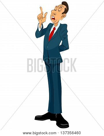 Vector illustration of a important businessman speaking