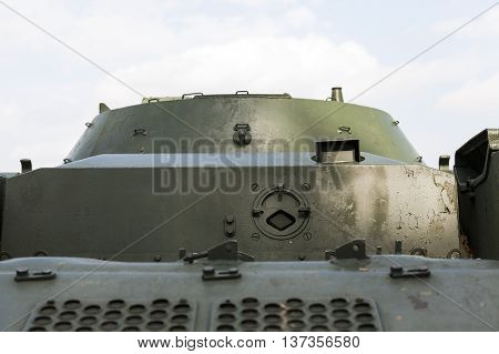 photographed close-up of old military equipment the Soviet Union,