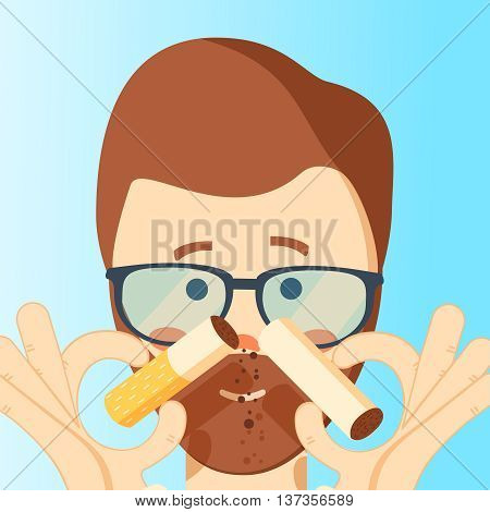 Man quit smoking. Man breaks a cigarette