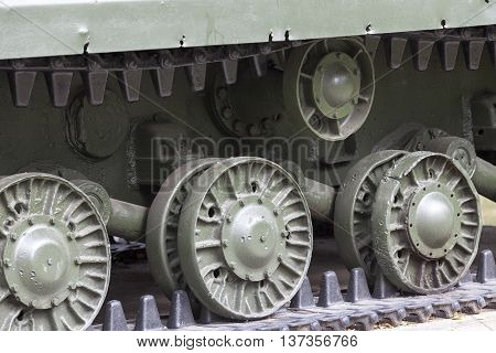 photographed close-up of the old tracks, disused, Soviet tank