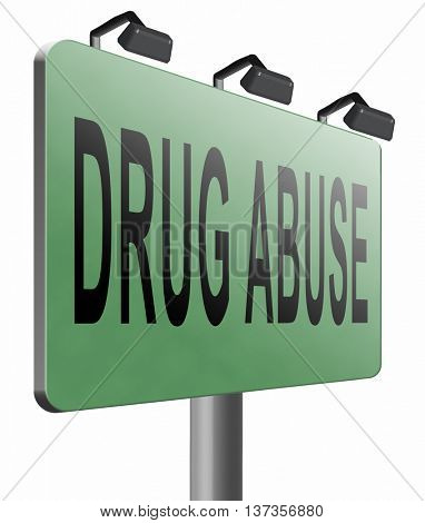 Drug abuse and addiction stop addict by rehabilitation in rehab center no drugs, 3D illustration isolated on white