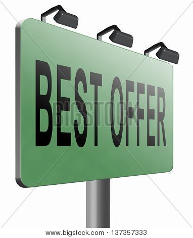best offer, lowest price and best value for the money. Web shop or online promotion for internet webshop, road sign billboard. 3D illustration, isolated, on white