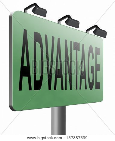 Advantages and benefits, competetive advantage in business and marketing. 3D illustration, isolated,on white
