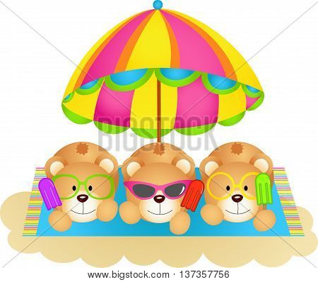 Scalable vectorial image representing a three teddy bears soaking up the sun eating ice cream, isolated on white.