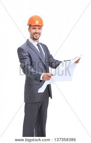 Confident architect  in formal wear and hardhat and smile isolated on white background