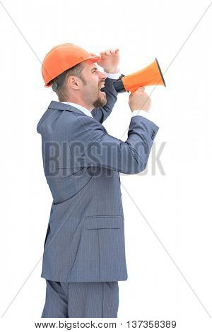 Confident engeneer with megaphone