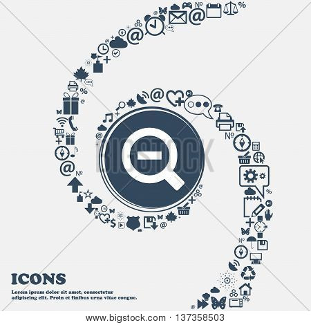 Magnifier Glass, Zoom Tool Icon Sign In The Center. Around The Many Beautiful Symbols Twisted In A S