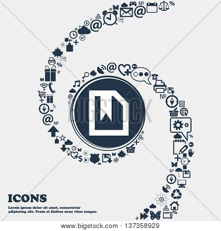 Bookmark Icon Sign In The Center. Around The Many Beautiful Symbols Twisted In A Spiral. You Can Use