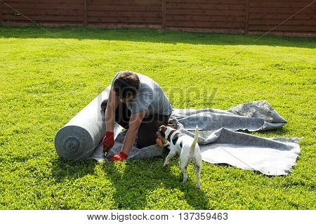 dog brought ball to man cutting geotextile on the lawn