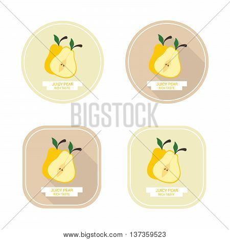 Icons juicy yellow pear with long shadows. Design stickers with ripe juicy pear for the company in vector format.