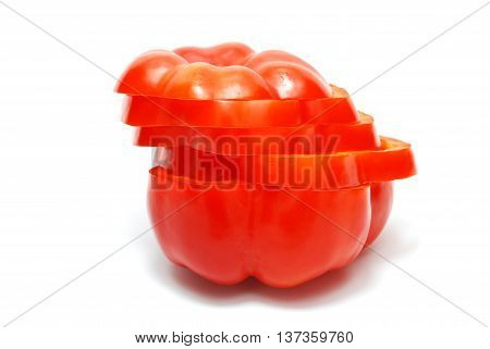 Isolated Cutted Red Pepper on White Background