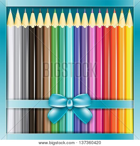 Present box of pencils with ribbon. Vector illustration.