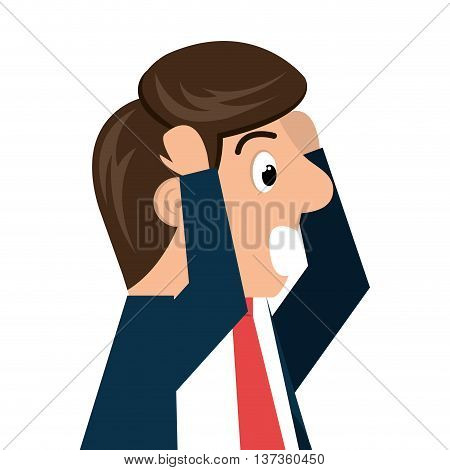 Worried businessman isolated cartoon, vector illustration graphic design.