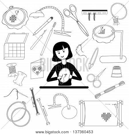 Girl embroiders and a set of embroidery accessories. Black-and-white design. Vector illustration.