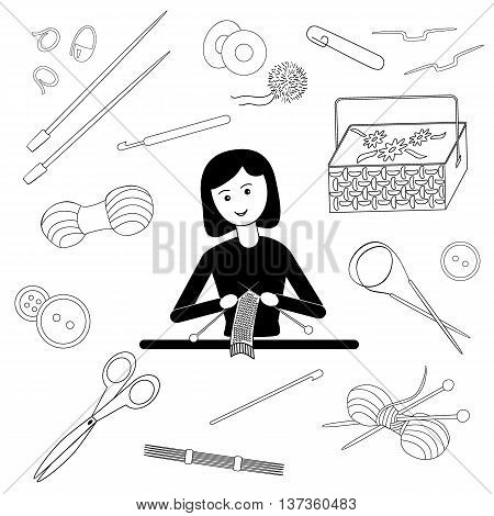 Flat black-and-white vector illustration of a girl knitting scarf. Tools for crafts: knitting needles crochet hooks yarn pins buttons scissors basket for needlework
