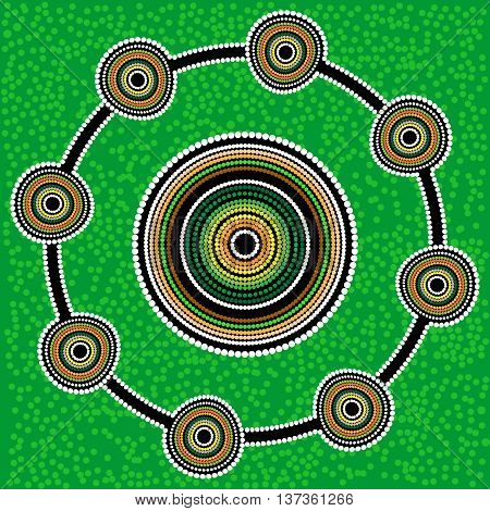 Australia Aboriginal art vector background with dots. Green