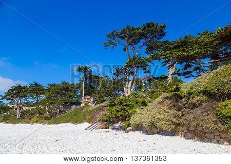 Beautiful white beach in Carmel-by-the-Sea California USA