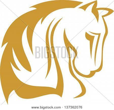 stock logo golden animal horse illustration art