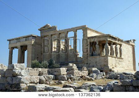 A Beautiful view of Erechtheum, Athens. GREECE.