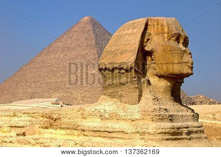 Beautiful view of Sphinx and pyramids, EGYPT.