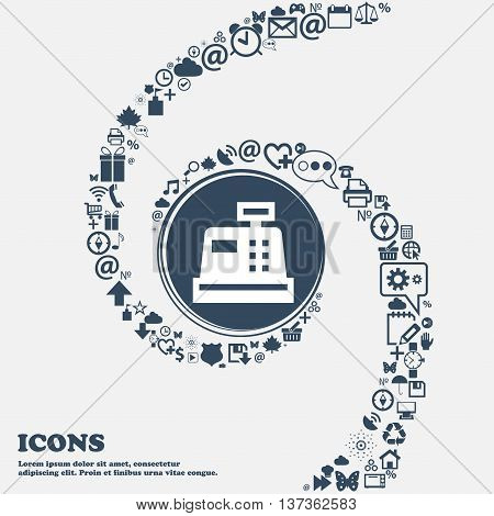 Cash Register Icon Sign In The Center. Around The Many Beautiful Symbols Twisted In A Spiral. You Ca