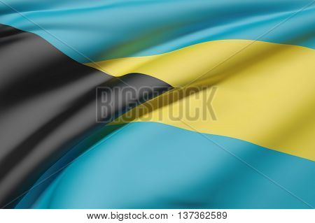 Illustration 3d rendering of Bahamas flag waving