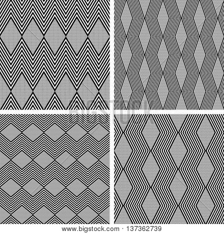 Seamless zig zag and diamond shape patterns. Geometric textures set. Vector art.
