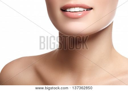 Close-up Beauty Portrait View Of A Young Woman Natural Smile W