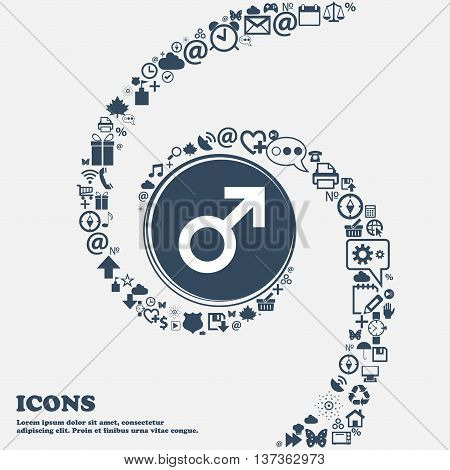 Male Sex Icon Sign In The Center. Around The Many Beautiful Symbols Twisted In A Spiral. You Can Use