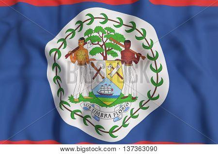 Illustration 3d rendering of Belize flag waving