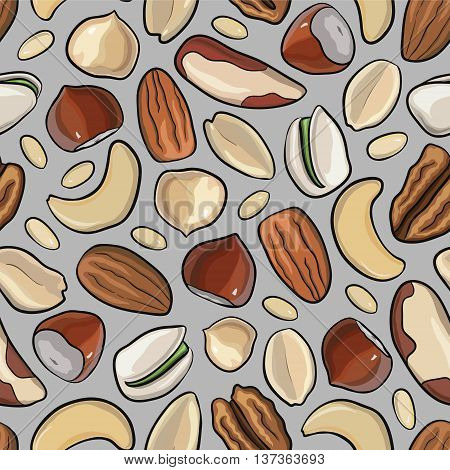 Vector seamless pattern with nuts in hand drawn style: hazelnut, almonds, peanuts, walnut, cashew, pine nut, pistachios pecan