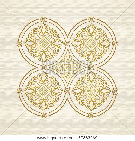 Ornate decorative illustration. Pattern in east style. Golden decor. It can be used for decorating of wedding invitations greeting cards decoration for bags and clothes.