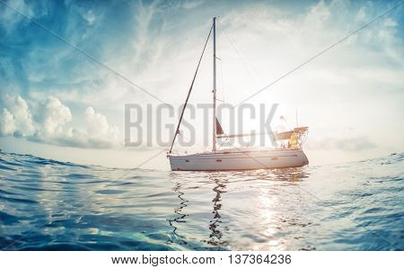 Sailing boat anchored in a sea. Andaman Sea, Thailand