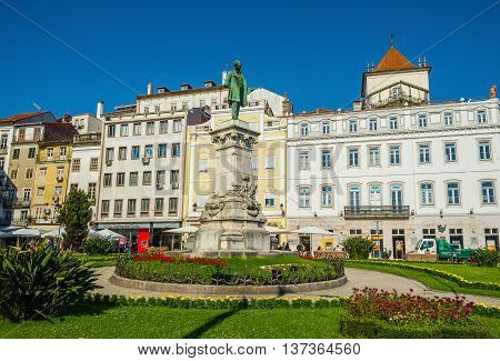 Coimbra Portugal - June 21 2016. Statue of Joaquim Antonio de Aguiar at the Largo de Portagem square in downtown of Coimbra. Portugal.