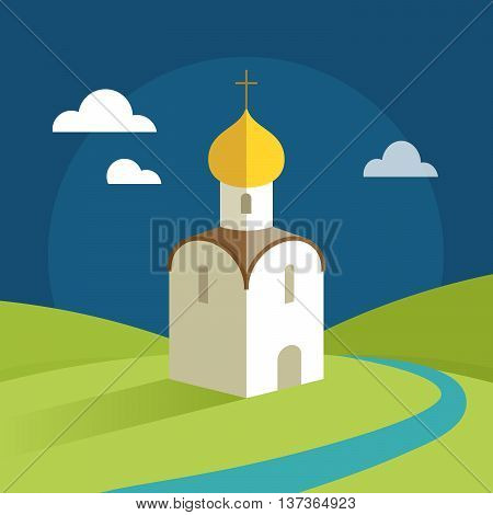 Orthodox Church with gold domes on the background of the rural landscape