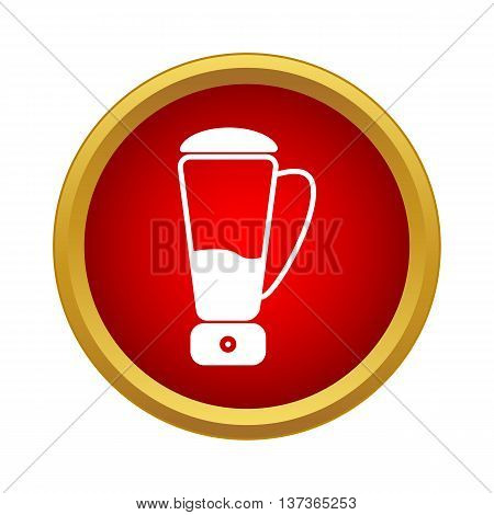 Blender icon in simple style in red circle. Kitchen appliances symbol