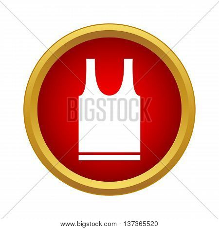 Sports t-shirt icon in simple style in red circle. Clothing symbol