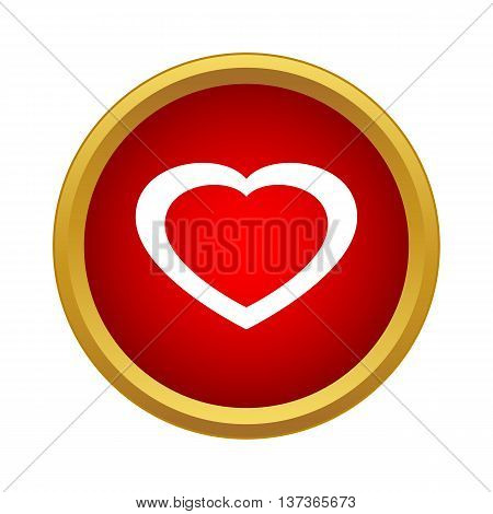 Healthy heart icon in simple style in red circle. Health and analyses symbol