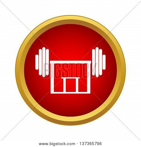 Rod on rack icon in simple style in red circle. Gym symbol