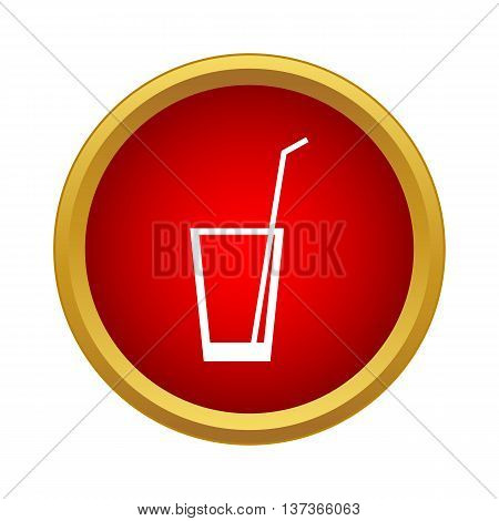 Glass with straw icon in simple style in red circle. Drinks symbol