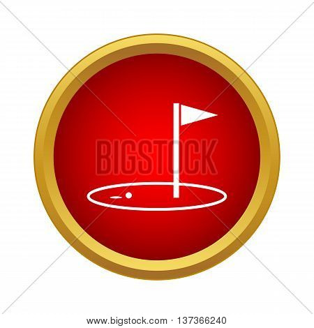 Golf game icon in simple style in red circle. Sport symbol