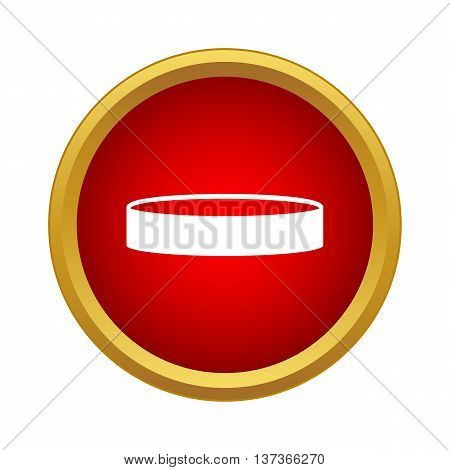 Professional hockey puck icon in simple style in red circle. Sport symbol