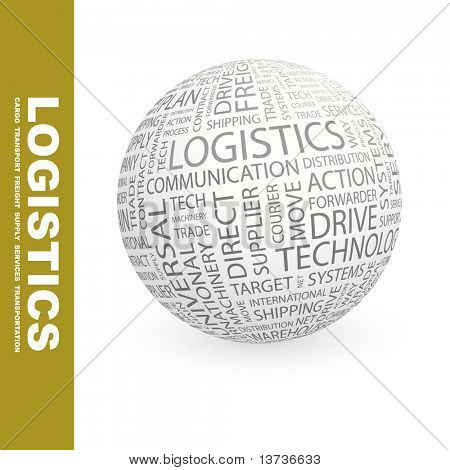 LOGISTICS. Globe with different association terms.
