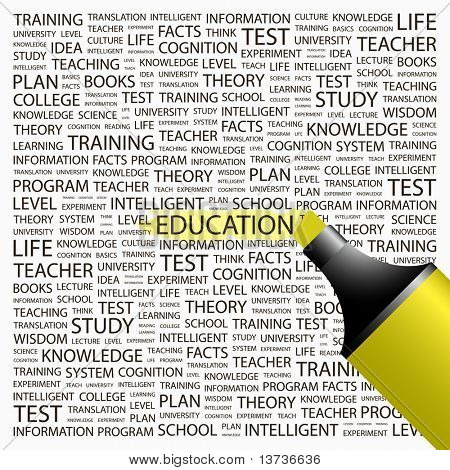 EDUCATION. Highlighter over background with different association terms. Vector illustration.