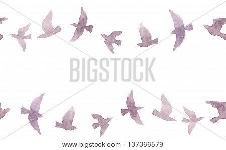 Cute seamless border frame with naive watercolor birds
