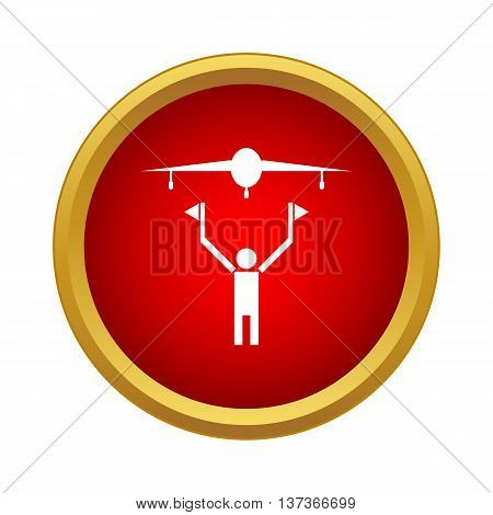 Plane is landing icon in simple style in red circle. Flight symbol