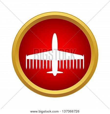 Aircraft icon in simple style in red circle. Flight symbol