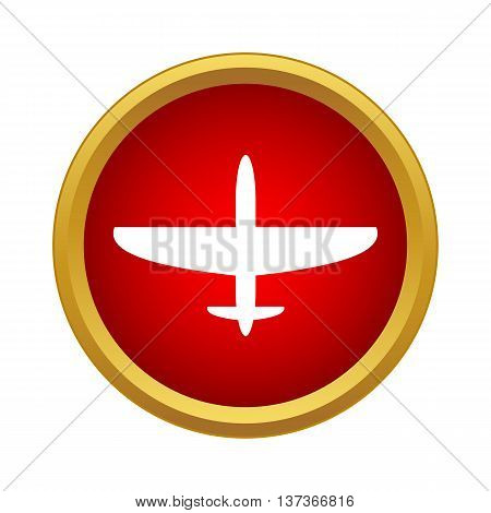 Airplane icon in simple style in red circle. Flight symbol