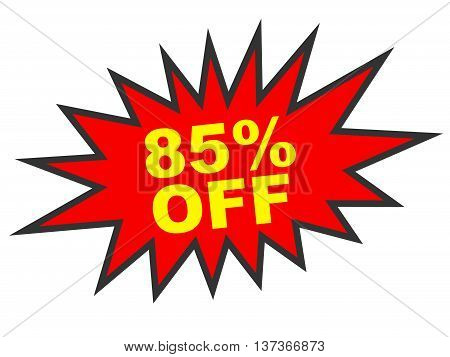 Discount 85 Percent Off. 3D Illustration On White Background.