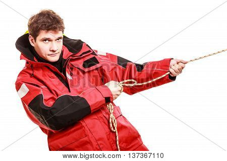 Young Man Pulling Rope.